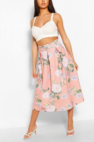 Blush Belted Floral Box Pleat Midi Skirt