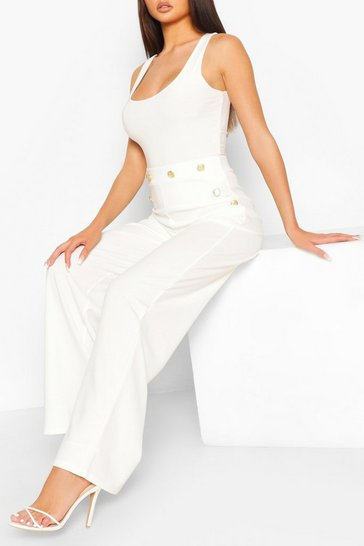 Ivory Button Detail Wide Leg Trousers