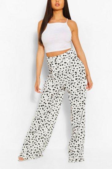 Ivory Animal Print Pleat Front Super Wide Leg Trouser