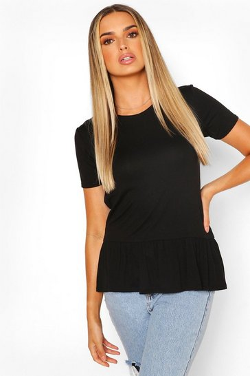 Black Short Sleeve Smock TShirt