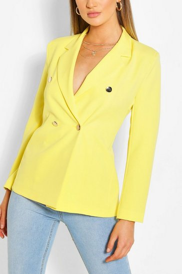 Yellow Tailored Fitted Button Blazer