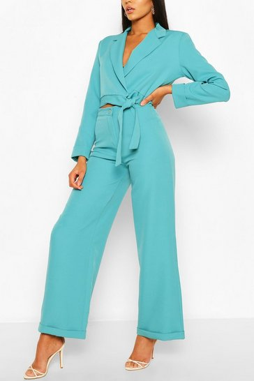 Turquoise Turn Up Wide Leg Tailored Trousers