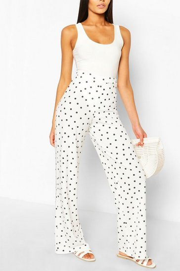 Ivory Polka Dot Crepe Wide Leg Trousers