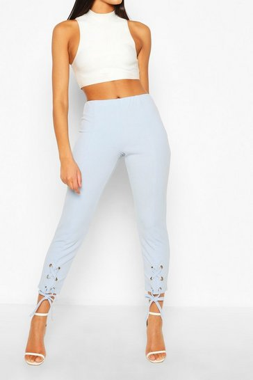 Pastel blue Lace up Trouser