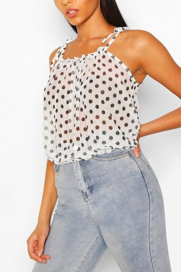 Ivory Spot Print Mesh Cami Top With Tie Straps