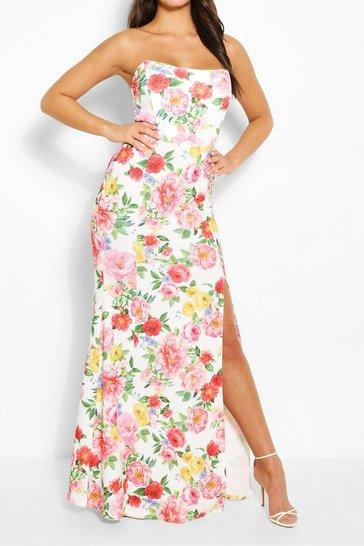 White Floral Print Shaped Bandeau Thigh Split Maxi Dress