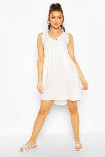 White Woven Tie Side Shirt Dress