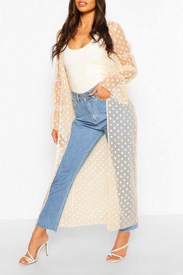 Cream Dobby Mesh Shirred Sleeve Maxi Kimono
