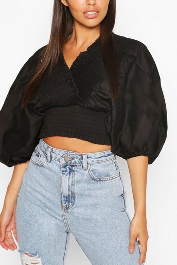 Black Woven Shirred Oversized Sleeve Top
