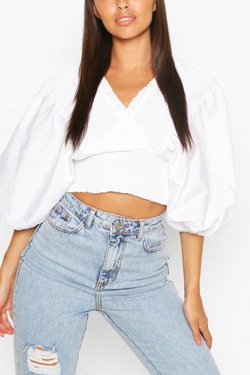 Ivory Woven Shirred Oversized Sleeve Top