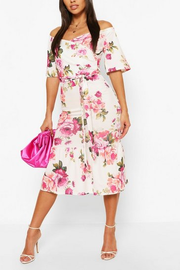 White Floral Wrap Belted Bardot Midi Dress