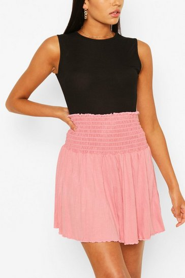 Rose Shirred Jersey Mini Skirt