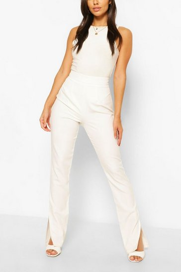 Ivory Long Line Split Side Woven Trousers