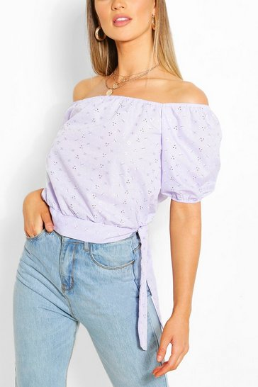 Lilac Broderie Anglaise Tie Detail Blouse