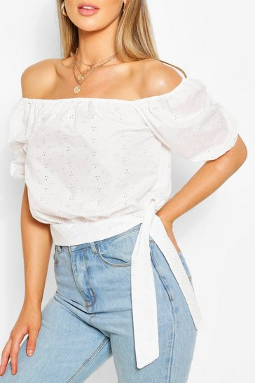 White Broderie Anglaise Tie Detail Blouse