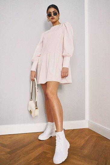 Pale pink Big Sleeve Peplum Cotton Shirt Dress