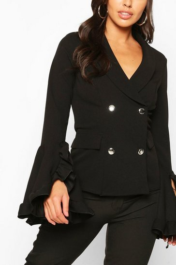 Black Frill Sleeve Double Breasted Blazer