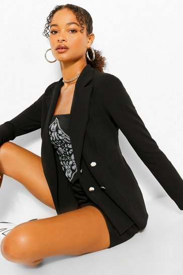 Black Double Breasted Cinched In Waist Blazer