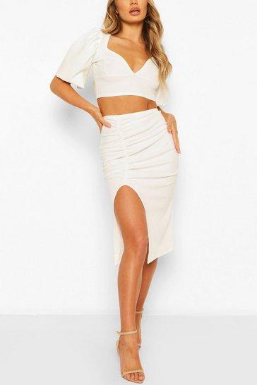 White Volume Sleeve Top & Ruched Midi Skirt Co-ord