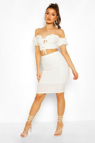 Cream Broderie Anglaise Bardot Crop Top&Midi Skirt Co-ord