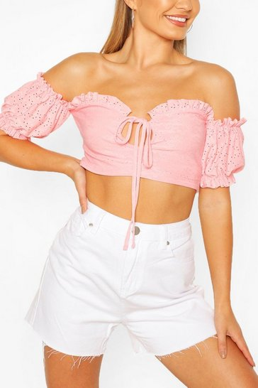 Coral Broderie Anglaise Bardot Gypsy Top