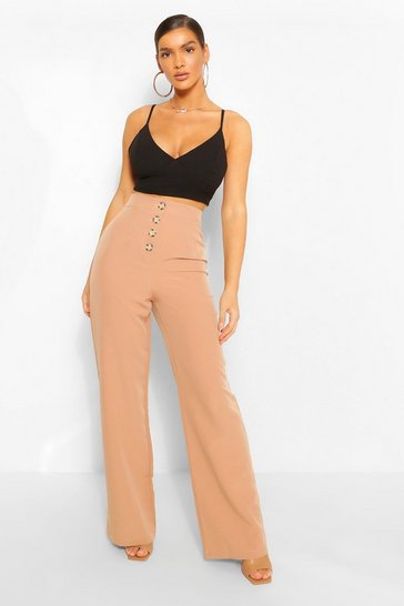 Sand Button Front Pocket Side Longline Culottes