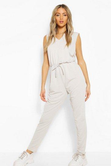 Silver Soft Tie Waist Slouch Loungewear Jumpsuit