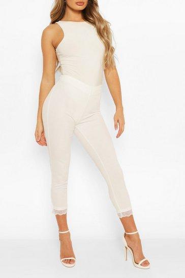 White Lace Hem Tailored Trouser