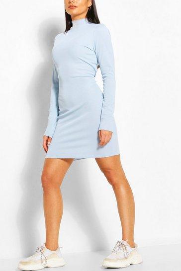 Blue Rib Lettuce Neck & Hem Detail Dress