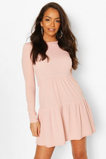 Blush Rib Tiered Smock Dress