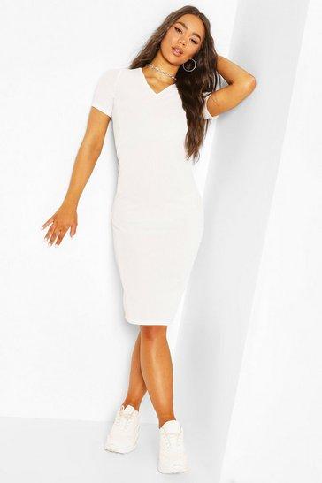 Ivory Rib V Neck Dress