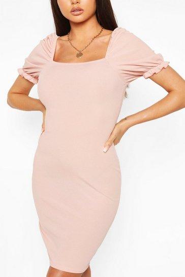 Blush Rib Square Neck Puff Sleeve Dress