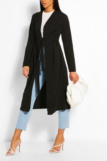 Black Ruched Detail Belted Duster Coat