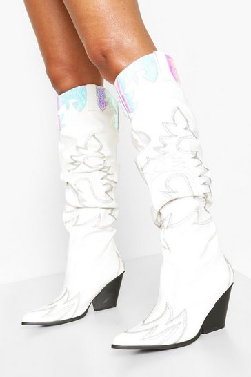 White Holographic Panel Knee High Western Boots