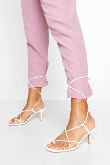 White Strappy Low Heel Sandals