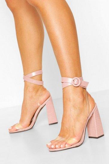 Pink Clear Panel Block Heel 2 Part Heels