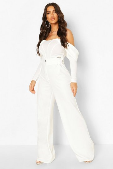 White Wide Leg Buckle Detail Trousers