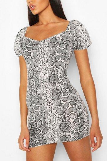 Snake Print Puff Sleeve Mini Dress