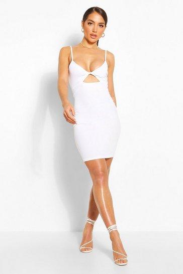 White Twist Front Mini Dress
