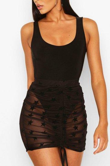 Black Flocked Mesh Ruched Mini Skirt