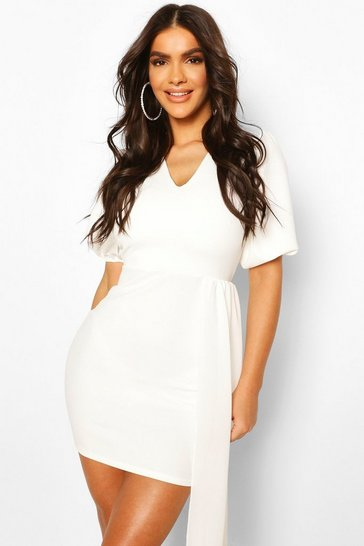 White V Neck Puff Sleeve Belted Draped Mini Dress