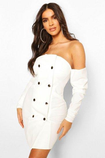 White Draped Sleeve Bardot Blazer Dress