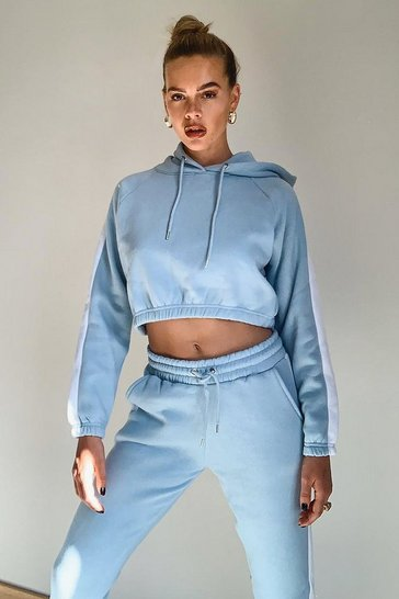Pale blue Contrast Panelled Crop Hooded Tracksuit
