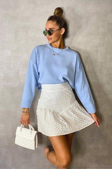 Ivory Broderie Anglaise Drop Hem Skirt