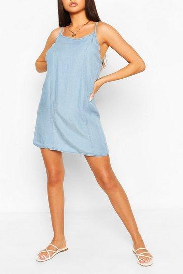 Light blue Chambray Strappy Shift Dress