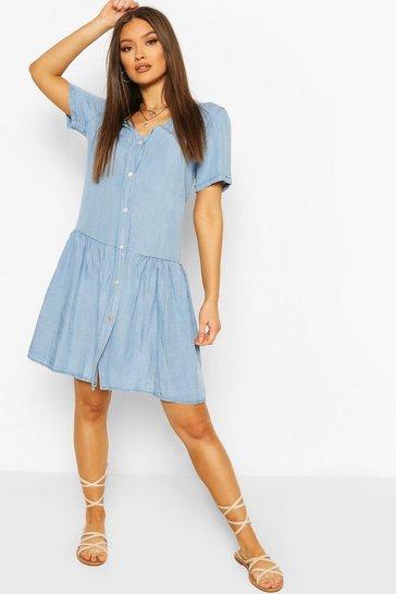 Light blue Chambray Mock Horn Button Smock Dress
