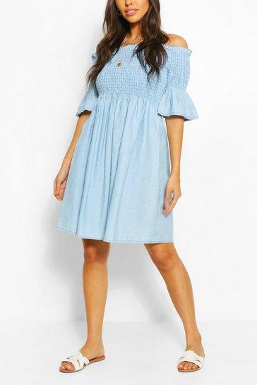 Light blue Chambray Shirred Off Shoulder Skater Dress