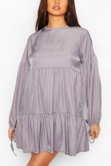 Blue Chambray Tie Sleeve Tiered Smock Dress