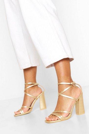 Gold Strappy Block Heel Sandals