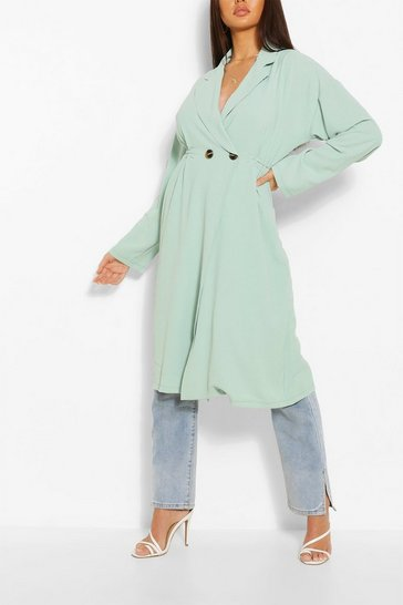 Sage Relaxed Fit Double Breasted Jacket